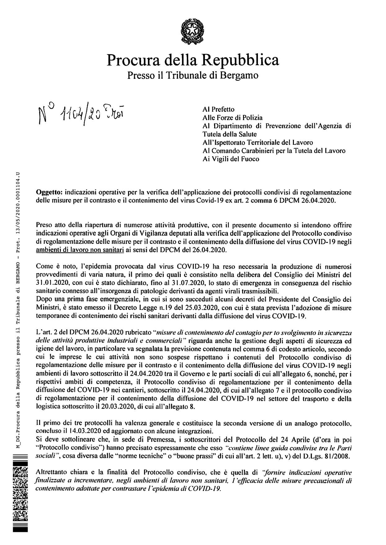 PROTOCOLLI COVID-19: ISTRUZIONI OPERATIVE DELLA PROCURA DI BERGAMO